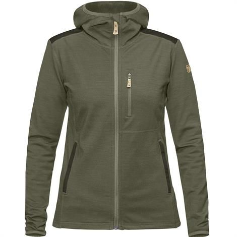 Image of   Fjällräven Keb Fleece Hoodie Womens, Laurel Green / Deep Forest