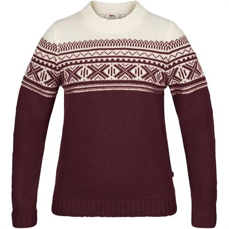 Image of   Fjällräven Övik Scandinavian Sweater Womens, Dark Garnet