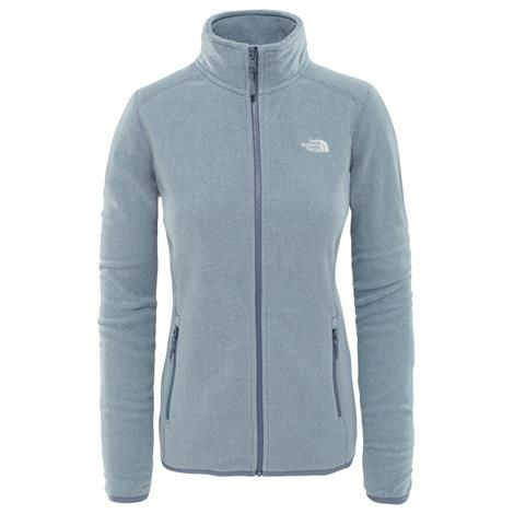 Image of   The North Face Womens 100 Glacier Full Zip, Grisaille Grey / Flint Stone Grey Stribe