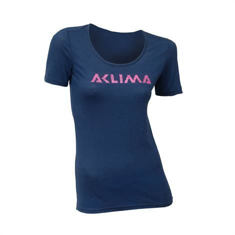Image of Aklima Lightwool T-Shirt Logo Woman, Insignia Blue