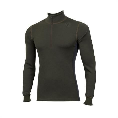 Image of Aklima Warmwool Mock Neck w/zip Man, Olive Night / Marengo