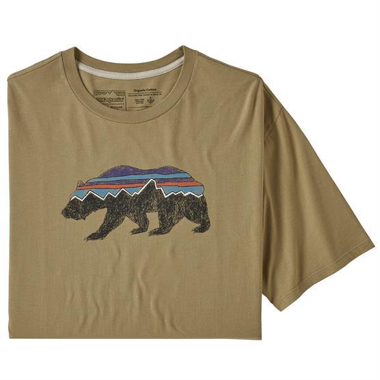 Patagonia Mens Fitz Roy Bear Organic T-Shirt, Classic Tan