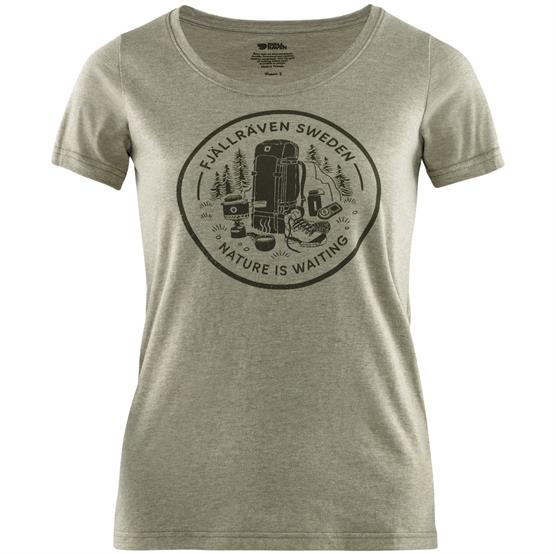 Image of   Fjällräven Fikapaus T-Shirt Womens, Light Olive / Melange