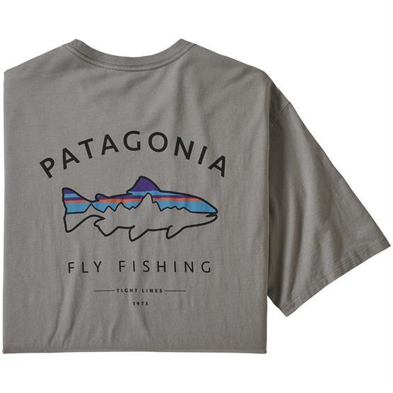 Patagonia Mens Framed Fitz Roy Trout Organic T-Shirt, Grey