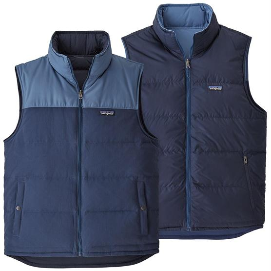 Image of   Patagonia Mens Reversible Bivy Down Vest, Stone Blue