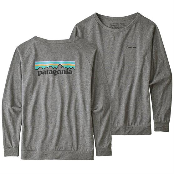 Image of   Patagonia Womens L/S Pastel P-6 Logo Tee, Gravel Heather