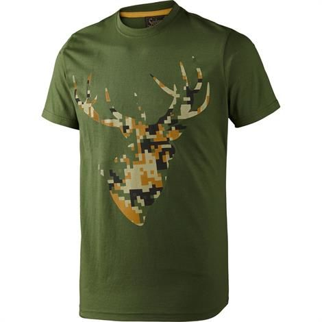 Image of   Seeland T-Shirt Camo Stag, Bottle Green Melange
